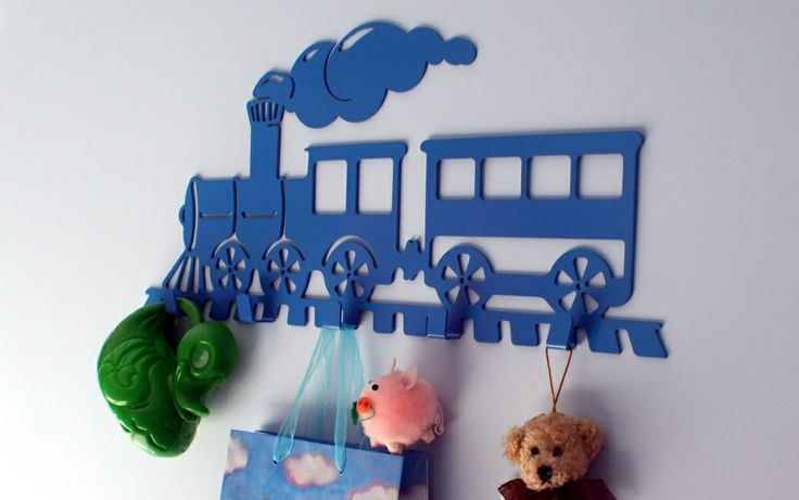 A locomotive. Available colors: black, blue and green; Dimensions: length-50 cm, height-26 cm;  Number of hooks: 5; Price: 99 PLN.