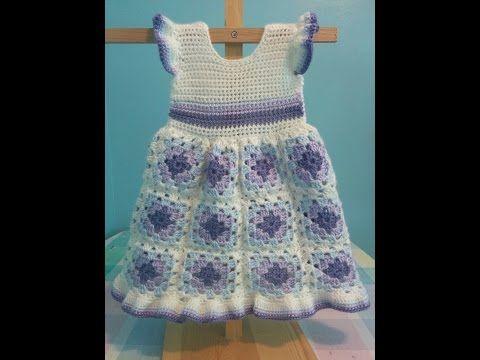 Vestidos de ganchillo de bebé niña. Baby girl crochet dress. Galicraft. - YouTube