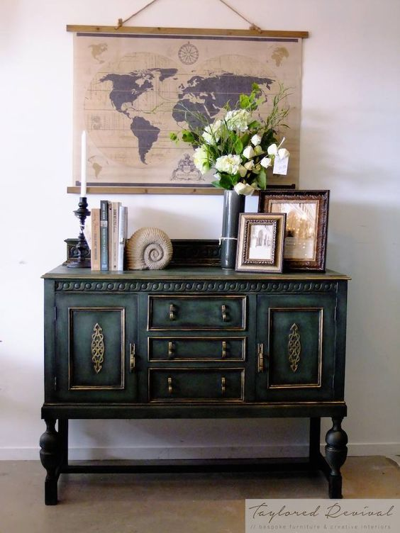 Sideboard buffet was painted in Napoleonic Blue Chalk Paint® mixed with English Yellow and Graphite, and then finished with Black Chalk Paint® Wax and Warm Gold Gilding Wax. Gorgeous project by Annie Sloan Stockist Taylored Revival in Auckland, NZ.