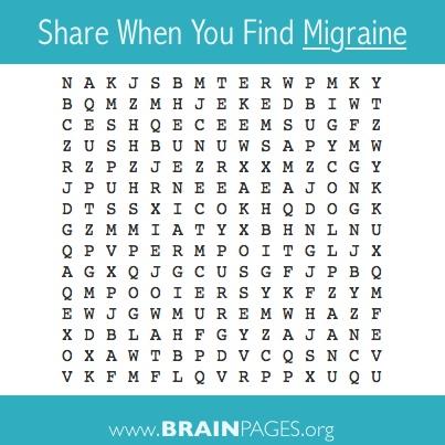 """#brain #games, #brain-games Find the word """"migraine""""."""
