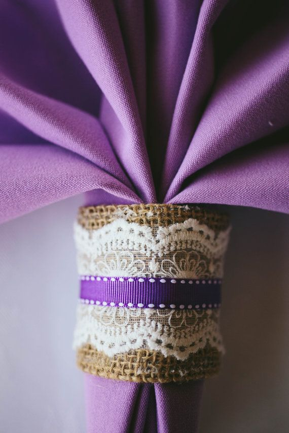 Burlap Napkin rings with purple accent quantity-110 by JDImperfectCreations, $100.00