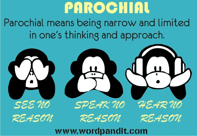 Parochial - limited in range or scope (as to a narrow area or region) : provincial, narrow