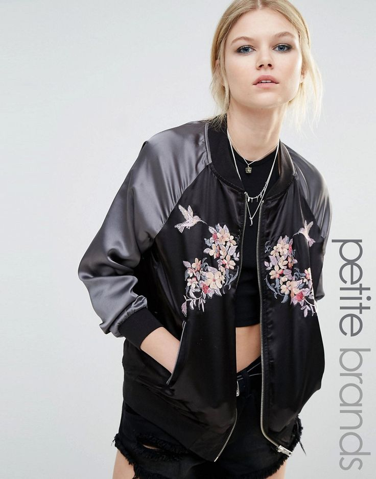 Image 1 -Boohoo Petite Contrast Satin Embroidered Bomber Jacket