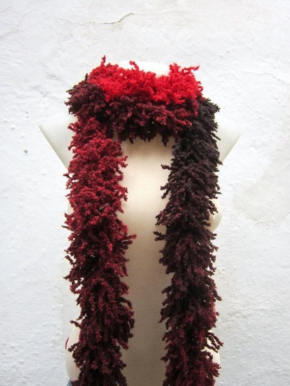 Red Black   Knit Scarf Fall Fashion   Winter  Accessories by nurlu