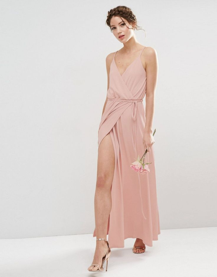 Image 4 of ASOS WEDDING Crepe Strappy Wrap Maxi Dress
