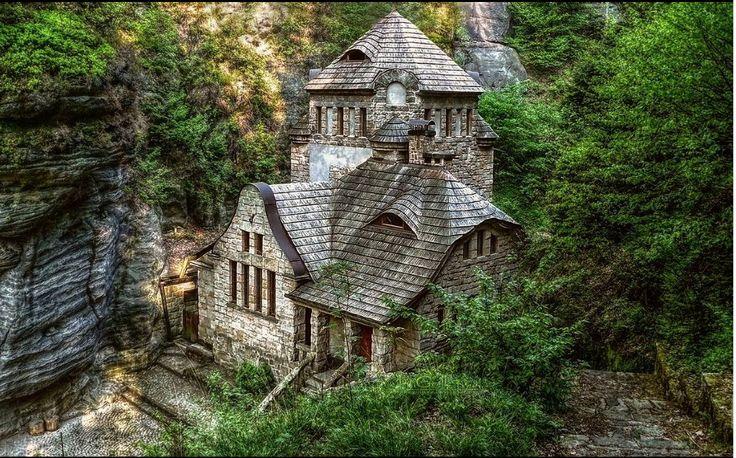 Hrensko city stone house build of rock