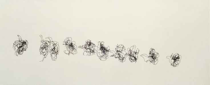 Claude Heath | Epstein's Hands Sequence | 1999 Ink and blutack on mylar film | 150 x 60 cms