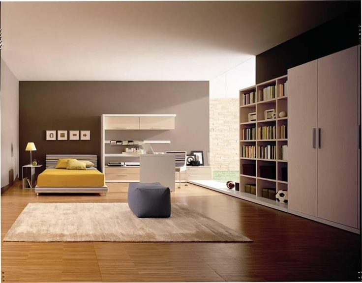 Neutral colour bedroom, shelves and wardrobe