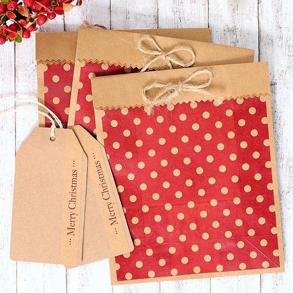 Bolsas para regalos craft polca en rojo con etiqueta