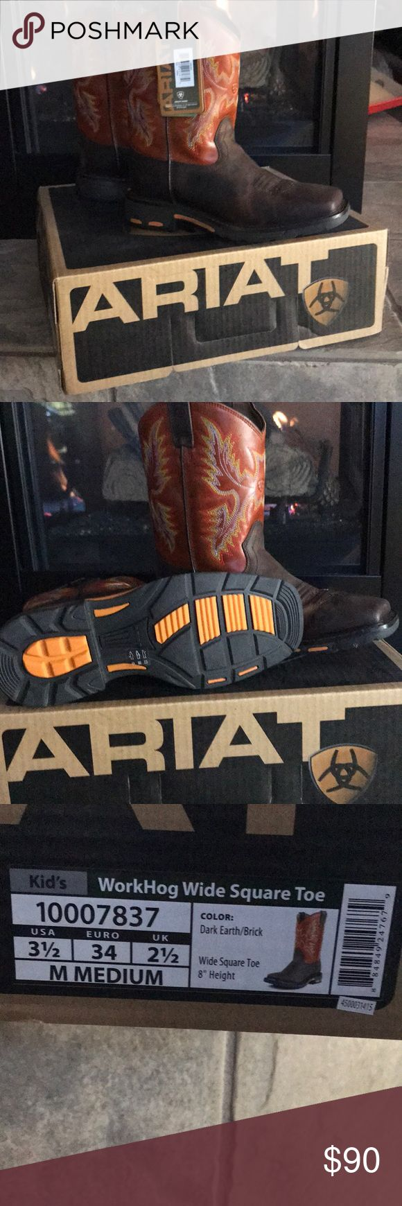 Brand new Ariat leather cowboy boots Brand new, never worn kid's leather cowboy boots.  This boot has a removable booster bed to provide extra room for growing feet, allowing kids to wear the shoe longer, as their foot grows!  This extends the life of the shoe!!! Ariat Shoes Boots