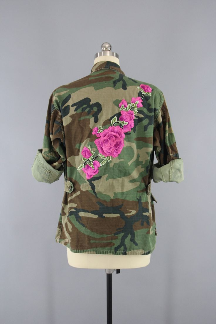 Vintage army camouflage military jacket with pink floral