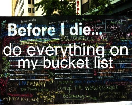 Do everything on my bucket list