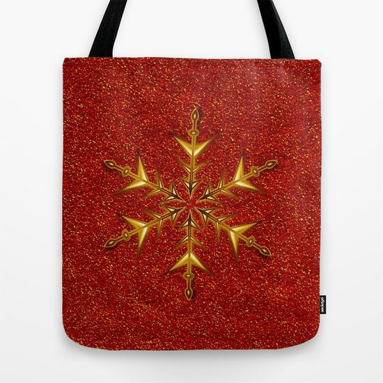 Golden Snowflake on Red Glitters Tote Bag by Elena Indolfi #Society6