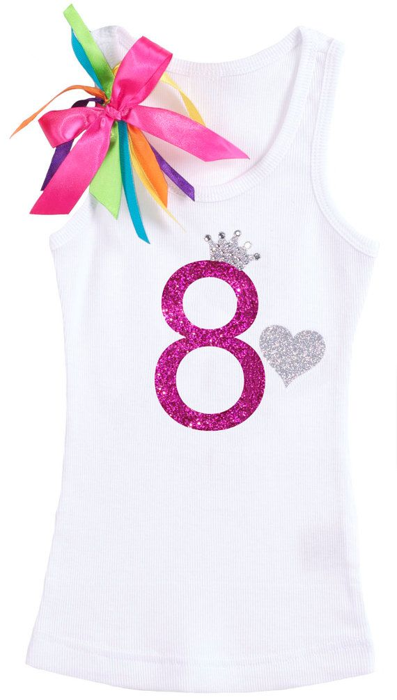 Girls Rainbow 8th Birthday Rhinestone Princess by BubbleGumDivas