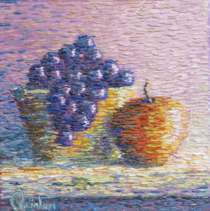 """impressionistic still life fruit and bowl  8"""" x 8""""  by Chris Quinlan Art"""