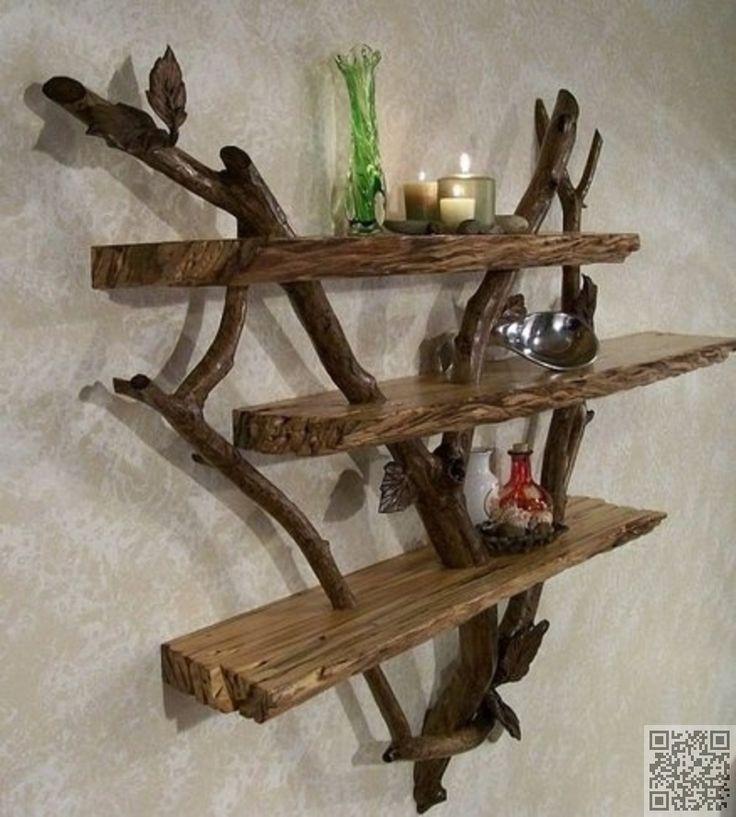 45. #Stick and Driftwood #Shelf - Shelfies: the Best DIY #Shelves ... → DIY #Corner