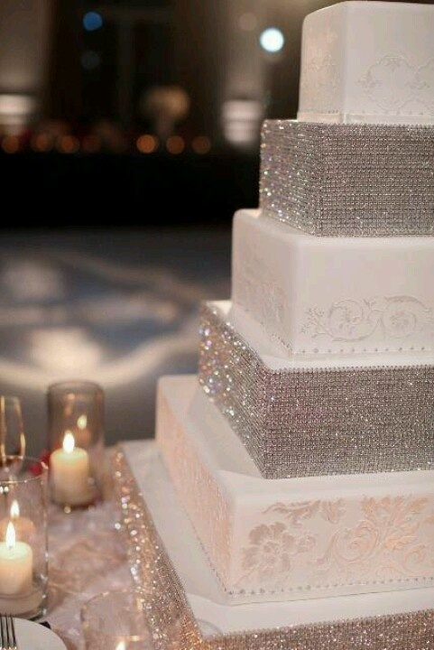 Bling out wedding cake: Rhinestones, Ideas, Squares Cakes, Weddings, Bling Cakes, Wedding Cakes, Cakes Stands, Weddingcak, Bling Bling