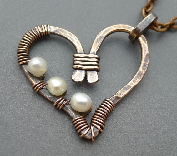 Necklace    ChainFlower Designs. Oxidized Copper with Freshwater Pearls
