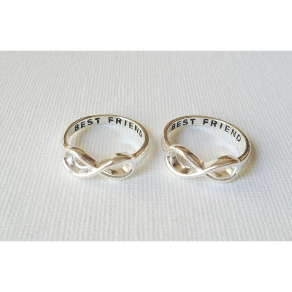 Set of 2 Best friend infinity rings, infinity rings ($17) ❤ liked on Polyvore featuring jewelry, rings, engraved rings, engraved infinity ring, infinity ring, infinity jewelry and engraved jewellery