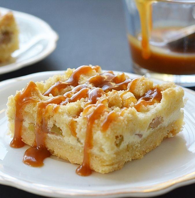 Karamelles-almás sajttorta kockák