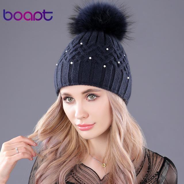 afaba4d94e3608 [boapt] Pearl Natural Raccoon Fur Women's Winter Hats Girls Knitted Wool  Rabbit Caps Female Headgear Pompon Skullies Beanies