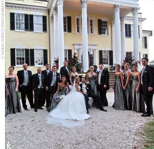 Long silver bridesmaid dresses and black tuxes with silver vests, I love this!