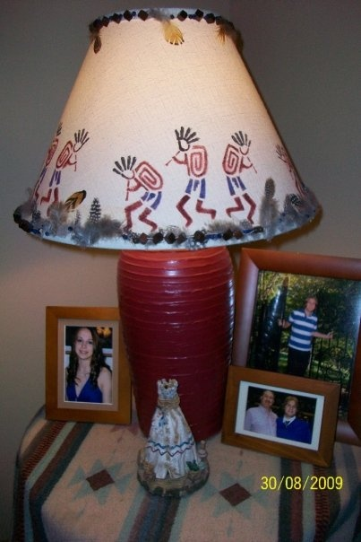take an old thrift store lamp and dress it up to suit your home. I decorate in SOUTHWEST so added the beads and feathers and stenciled the kokapelli. the base was a mossy green shade so i painted the base burgundy to make our colors in our home.