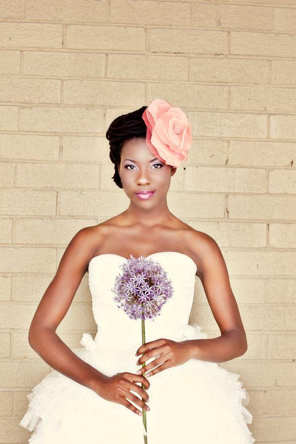 black bride; bride of colour; peach floral headpiece