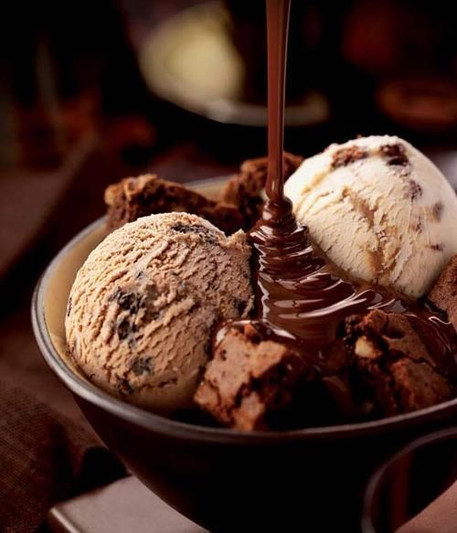 Double Chocolate Brownie Cookie Dough Ice Cream With Chocolate Sauce