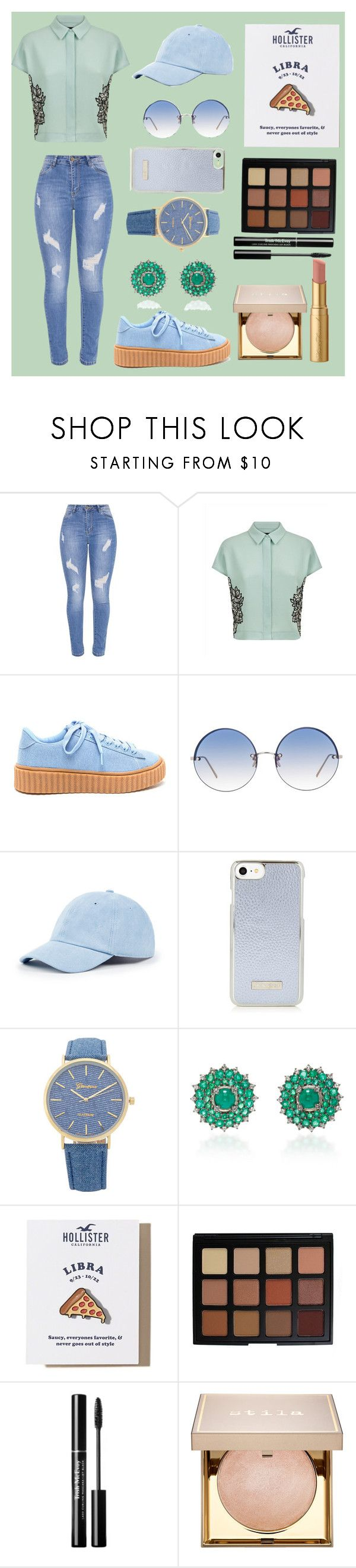 """""""Libra - Mint Green"""" by biajacksonwinchester ❤ liked on Polyvore featuring Jaeger, Linda Farrow, Sole Society, Nam Cho, Hollister Co., Morphe, Stila and Too Faced Cosmetics"""