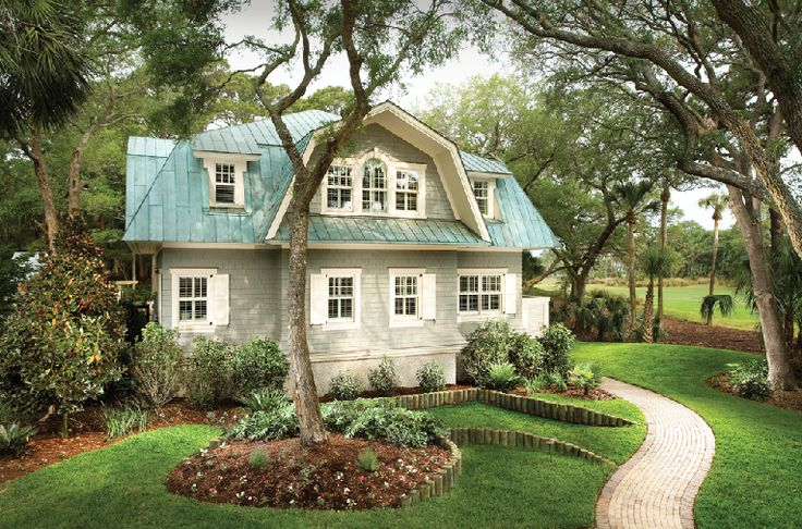 green roof and white shutters: Country Cottages, Coastal Cottages, Gardens Design Ideas, White Shutters, Green Roof, Coastal Home, Exterior Colors, South Carolina, Cottages Home