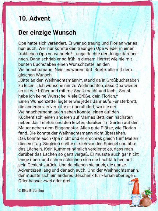 Der einzige Wunsch – 10. Advent | Winterzeit | Deutsch | Pinterest ...