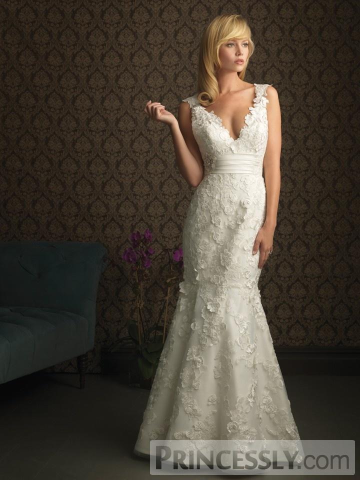 Sexy Trumpet Deep V-neck Lace Straps & Skirt Sweep Train Wedding Dress