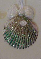 Green seashell christmas ornament