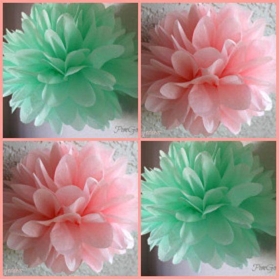 8 Tissue Poms - 1st Girl Birthday-Wedding Decorations - Bridal Shower - Anniversary- Engagement - Flowers - DIY-Mint Pink on Etsy, $20.00