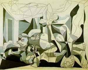 이제 이 프랑스 전시회의 마지막 작품인 '납골당'을 소개하겠습니다. 이 역시 '파블로 피카소'의 작품으로 '게르니카'를 뒤이은 명작입니다. 게르니카가 전쟁 당시의 잔혹함을 그렸다면, 납골당은 전쟁 이후 잔혹함이 휩쓸고 간 자리에 남아있는 공허함을 그린 듯 합니다. 그 공허함 속에서 희망을 읽은 자들의 일그러진 표정들. 게르니카와 납골당. 이 두 작품을 같이 보면 인간이 역사에 남긴 오점이 부끄러워집니다.