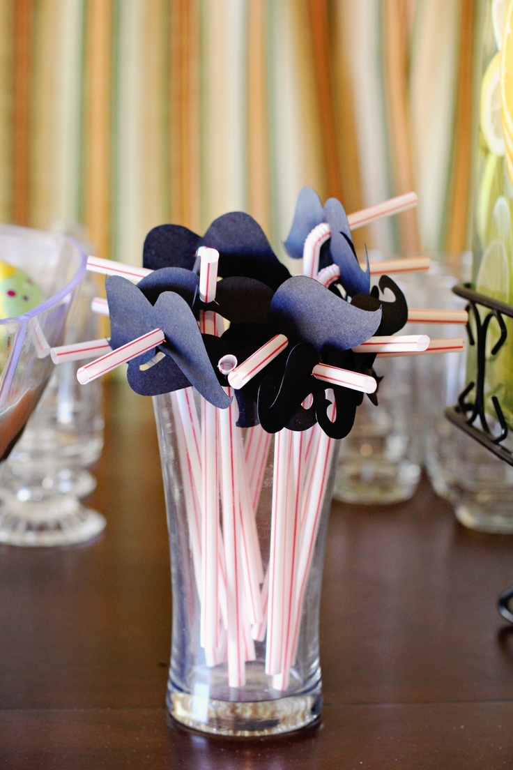 mustache straws for mustache theme baby shower