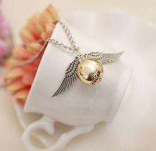 HOT Selling Brons Tone Gouden Snaai De Relieken Wing Charm Gold Bal Hanger Collier(China (Mainland))