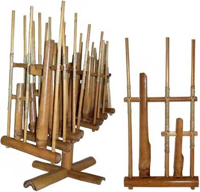 angklung, bamboo musical instrument.   awarded as World tangible Cultural Heritage by UNESCO
