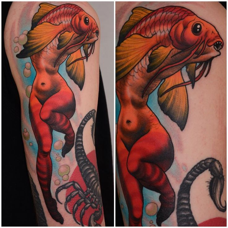 286 best tattoo new school images on pinterest for Traditional mermaid tattoo