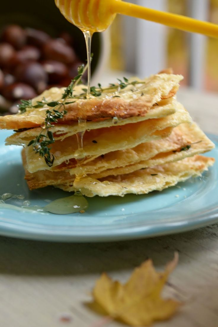Crisp Flat Breads with Honey, Thyme and Sea Salt
