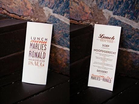 Custom menus for Ronald & Marlies at their outdoor wedding - Canvas Stationery Boutique