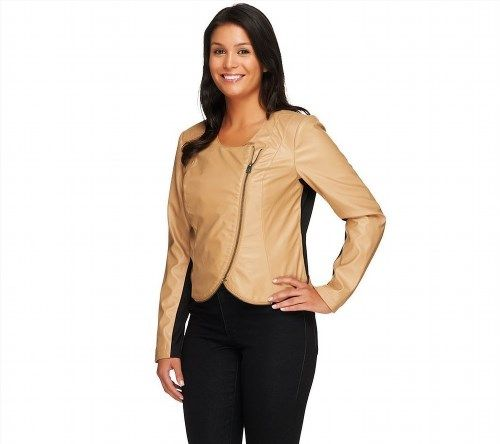 33.63$  Buy now - http://vimky.justgood.pw/vig/item.php?t=63y9i60281 - Lisa Rinna Collection Charming Cropped Faux Leather Jacket Camel M NEW A257771
