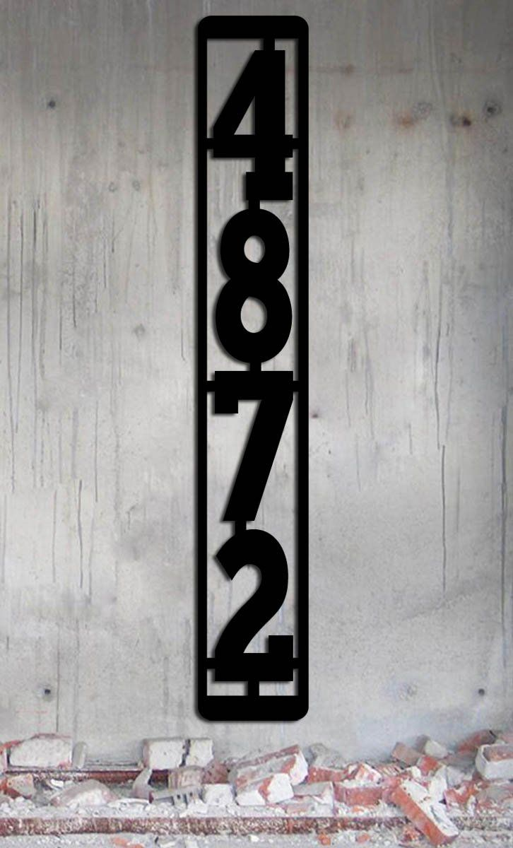 "Vertical Metal Mailbox Post Address Sign - 4 Numbers - Large House Numbers- 3.4 Inches x 22.5"" Industrial - Modern Made In USA. Modern / industrial vertical address sign with large numbers. This sign is for 4 numbers. There is another option in my store for 3 numbers. The numbers are 4 3/4 inches tall. Overall dimensions are 3.4 inches wide by 22 1/2 inches tall. These are designed to go on a standard mailbox post - if you need two identical signs check out my other listings, I have a..."