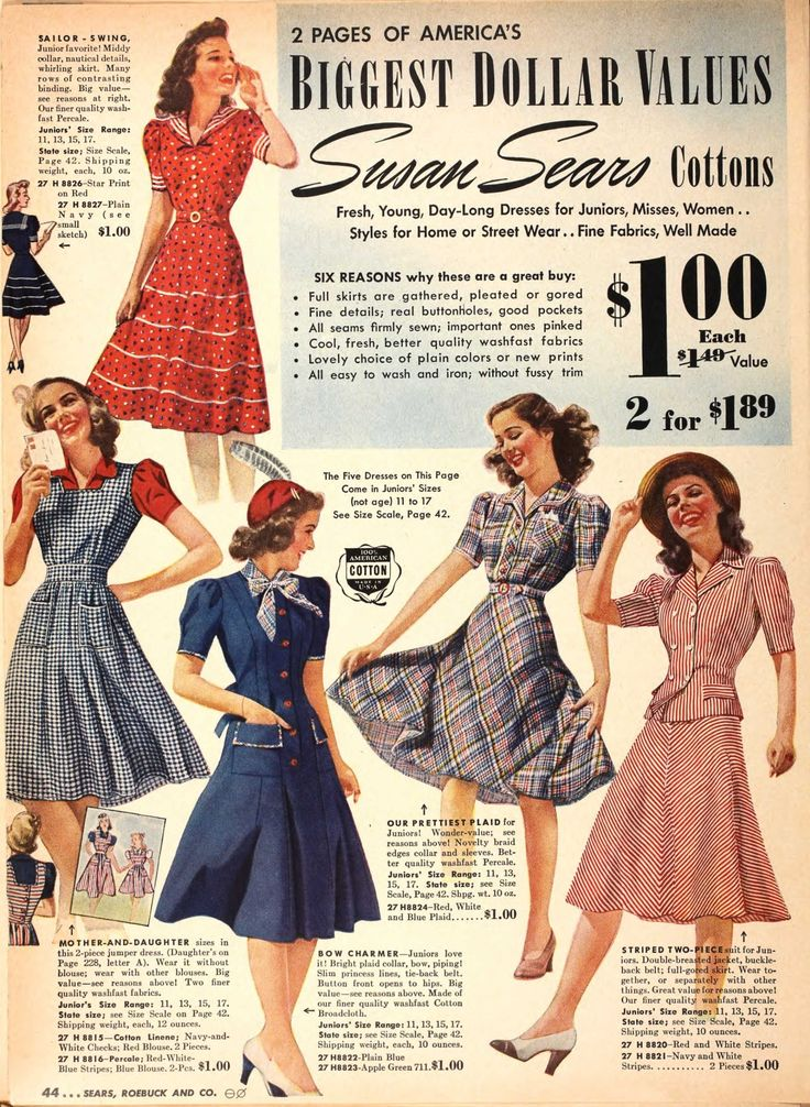 40s fashion illustration day dresses photo print ad colour red blue pink plaid