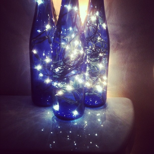 Bathroom nightlight made out of relax wine bottles and for Make glasses out of bottles