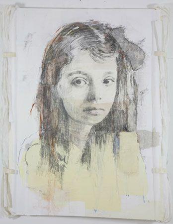LOUIS BOUDREAULT, Marguerite Duras, 2007 (graphite, charcoal, pastel, gouache, paper collage on board). Photo Kevin Bertram