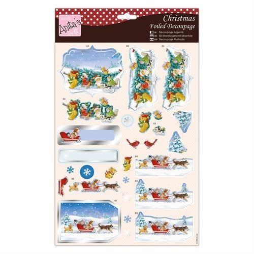 2€. 3D-kuva, joulun karvaiset Sinelli - Askarteluverkkokauppa - Askartelu - Askartelutarvikkeet