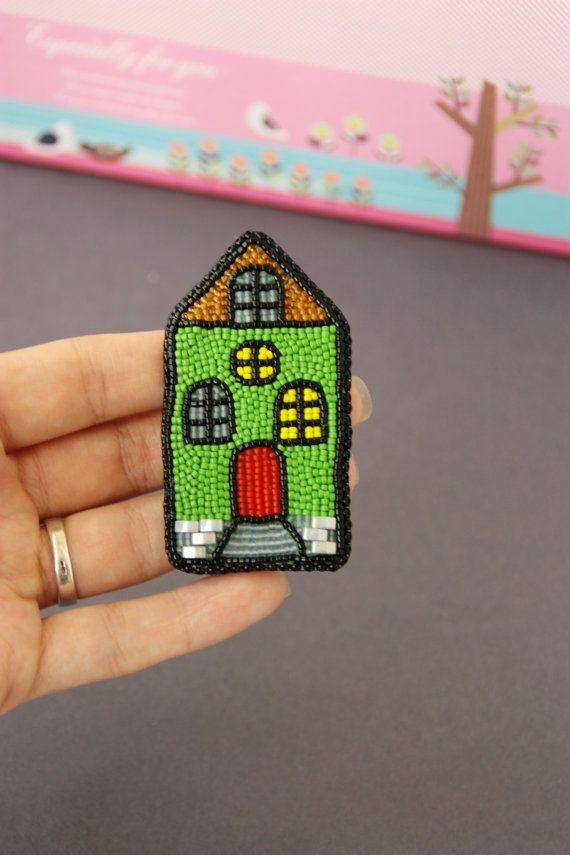 Brooch handmade beaded Beadwork Embroidery от ArtBeadedHouse