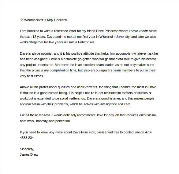 Samples Of Letter Of Recommendation Writing A Reference Letter